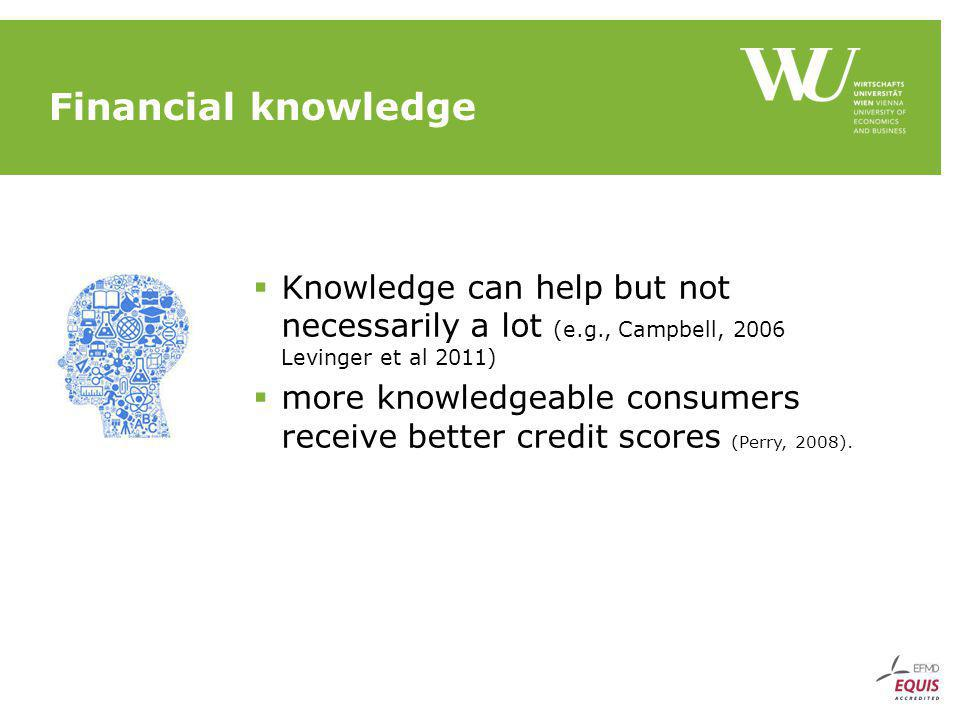 Financial knowledge Knowledge can help but not necessarily a lot (e.g., Campbell, 2006 Levinger et al 2011) more knowledgeable consumers receive better credit scores (Perry, 2008).