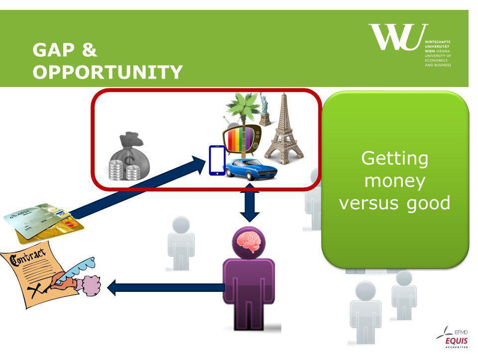 GAP & OPPORTUNITY Getting money versus good