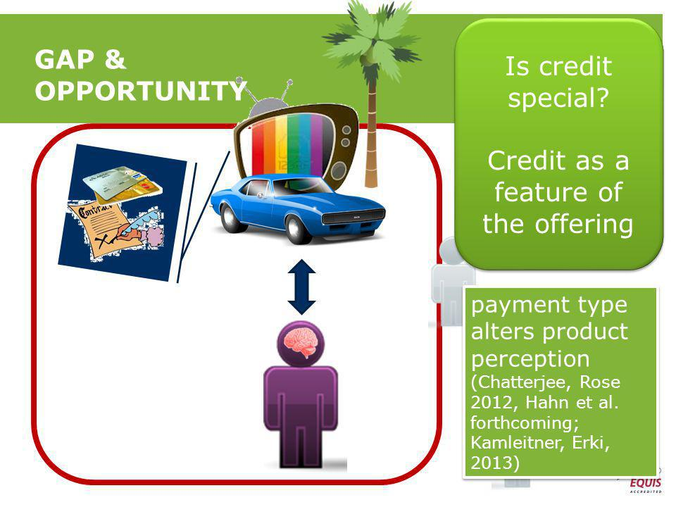 GAP & OPPORTUNITY Is credit special. Credit as a feature of the offering Is credit special.
