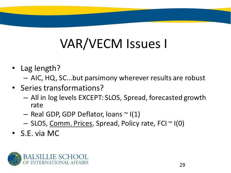 VAR/VECM Issues I Lag length.