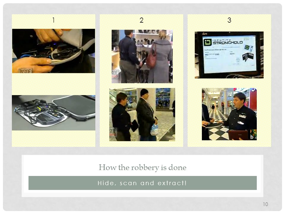 321 Hide, scan and extract! How the robbery is done 10