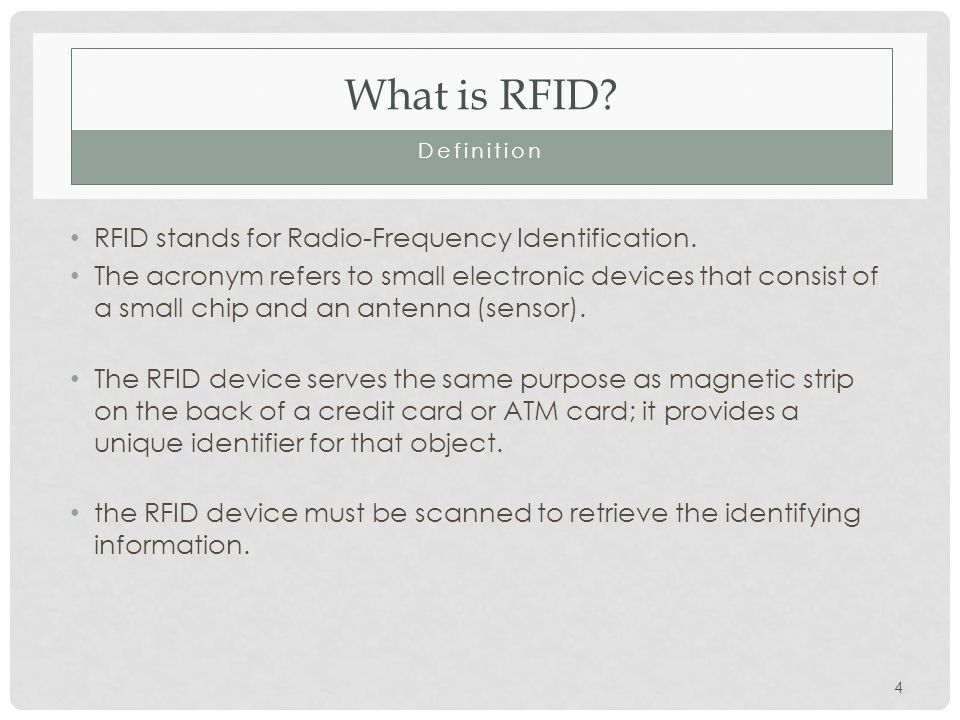 What is RFID. Definition RFID stands for Radio-Frequency Identification.