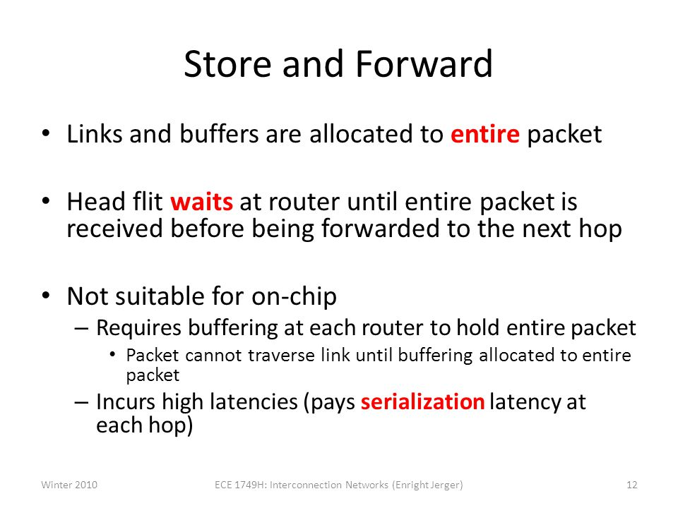 Store and Forward Links and buffers are allocated to entire packet Head flit waits at router until entire packet is received before being forwarded to the next hop Not suitable for on-chip – Requires buffering at each router to hold entire packet Packet cannot traverse link until buffering allocated to entire packet – Incurs high latencies (pays serialization latency at each hop) Winter 201012ECE 1749H: Interconnection Networks (Enright Jerger)