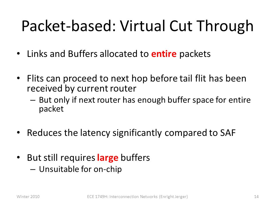 Packet-based: Virtual Cut Through Links and Buffers allocated to entire packets Flits can proceed to next hop before tail flit has been received by current router – But only if next router has enough buffer space for entire packet Reduces the latency significantly compared to SAF But still requires large buffers – Unsuitable for on-chip Winter 201014ECE 1749H: Interconnection Networks (Enright Jerger)