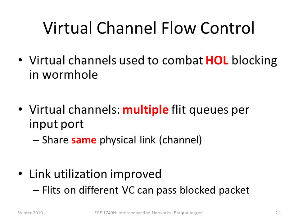 Virtual Channel Flow Control Virtual channels used to combat HOL blocking in wormhole Virtual channels: multiple flit queues per input port – Share same physical link (channel) Link utilization improved – Flits on different VC can pass blocked packet Winter 201021ECE 1749H: Interconnection Networks (Enright Jerger)