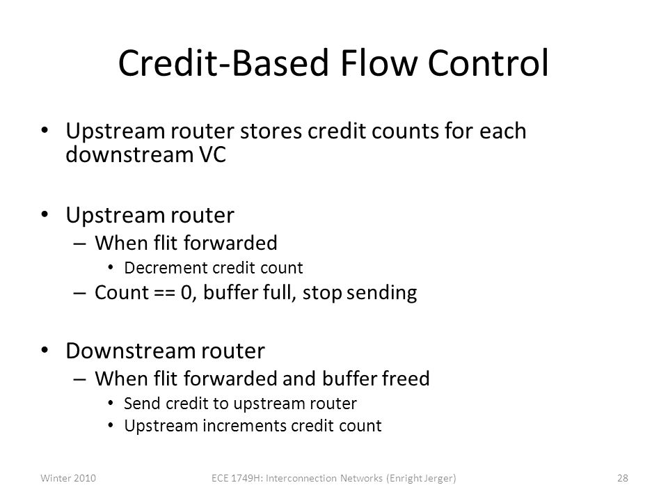 Credit-Based Flow Control Upstream router stores credit counts for each downstream VC Upstream router – When flit forwarded Decrement credit count – Count == 0, buffer full, stop sending Downstream router – When flit forwarded and buffer freed Send credit to upstream router Upstream increments credit count Winter 201028ECE 1749H: Interconnection Networks (Enright Jerger)