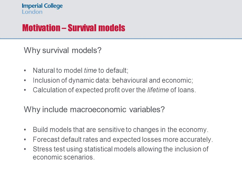 Discrete survival model of credit default The discrete survival model covers most options required of a dynamic credit risk model, whilst being computationally efficient.