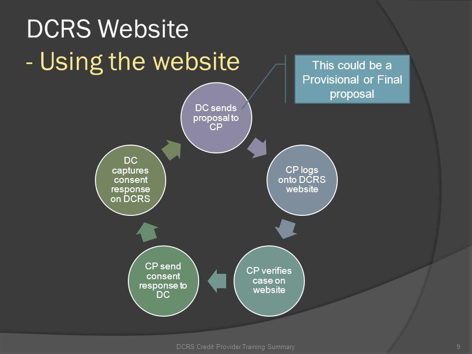 DCRS Website - Login to DCRS website DCRS Credit Provider Training Summary10 1.