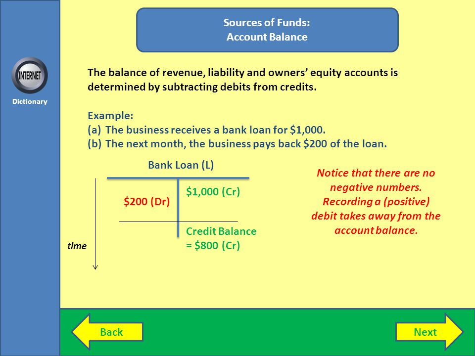 BackNext Dictionary Sources of Funds: Account Balance The balance of revenue, liability and owners equity accounts is determined by subtracting debits from credits.