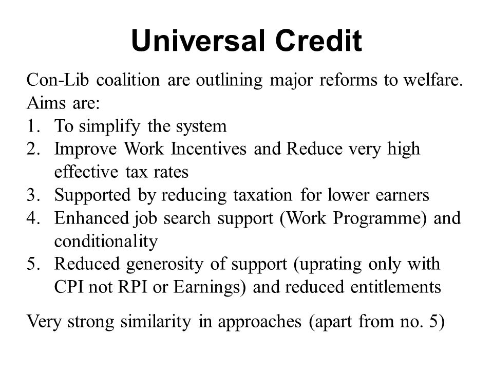Universal Credit Con-Lib coalition are outlining major reforms to welfare.