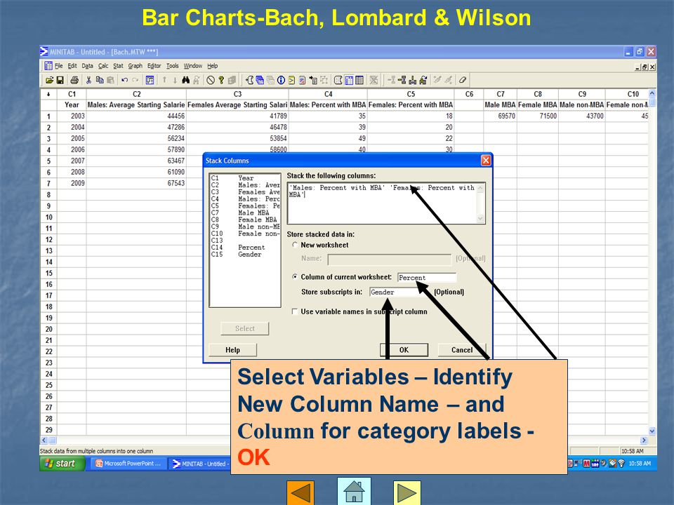 Bar Charts-Bach, Lombard & Wilson Select Variables – Identify New Column Name – and Column for category labels - OK