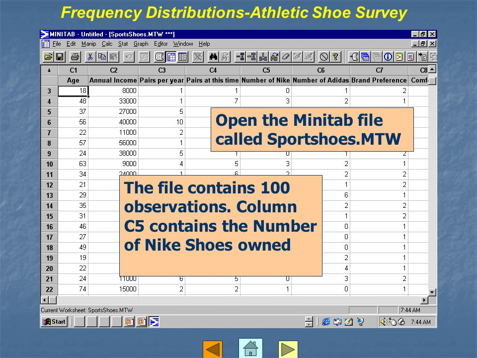 Frequency Distributions-Athletic Shoe Survey Open the Minitab file called Sportshoes.MTW The file contains 100 observations.