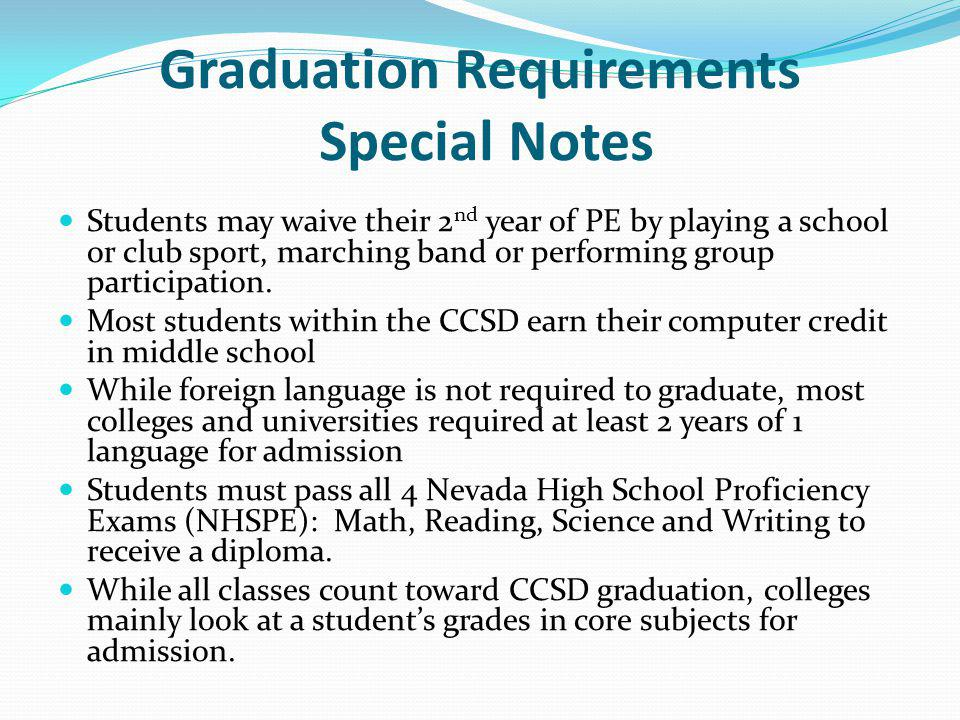 Graduation Requirements Special Notes Students may waive their 2 nd year of PE by playing a school or club sport, marching band or performing group pa
