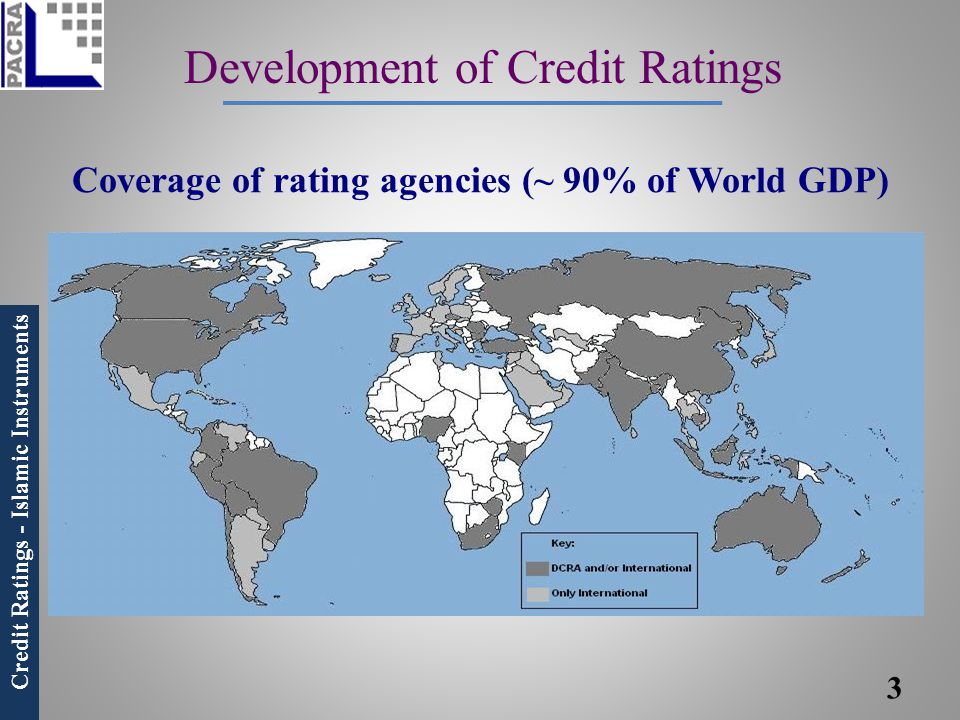 Credit Ratings - Islamic Instruments Development of Credit Ratings Coverage of rating agencies (~ 90% of World GDP) 3