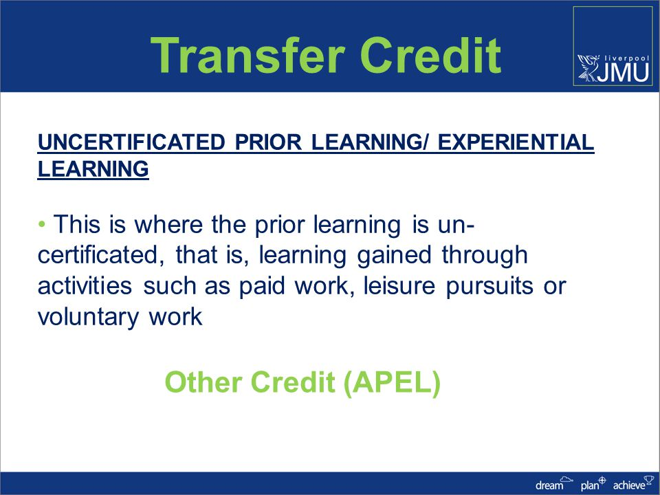 Transfer Credit Transfer Credit is SIS can be applied as either: A block of Credit e.g.