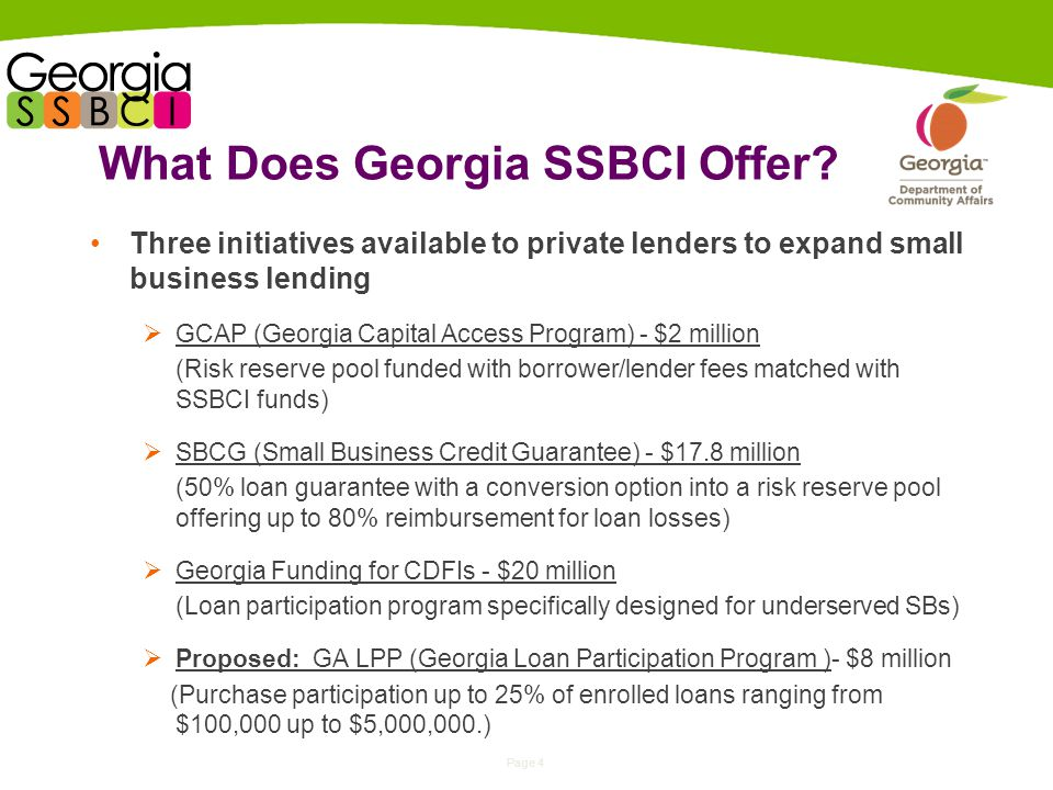 Page 4 What Does Georgia SSBCI Offer.