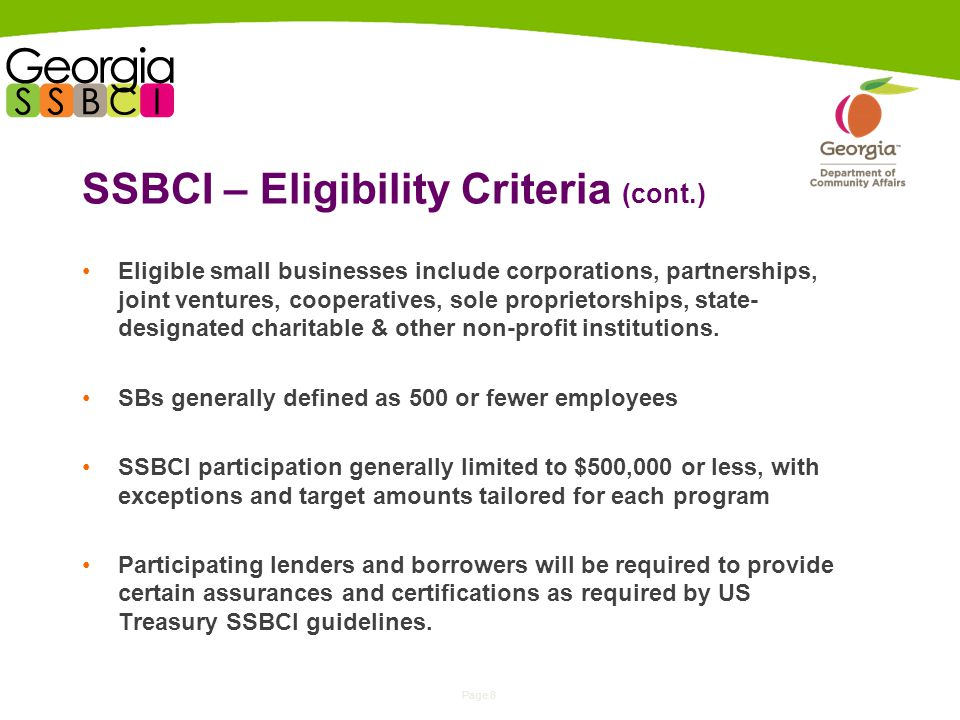 Page 8 SSBCI – Eligibility Criteria (cont.) Eligible small businesses include corporations, partnerships, joint ventures, cooperatives, sole proprietorships, state- designated charitable & other non-profit institutions.