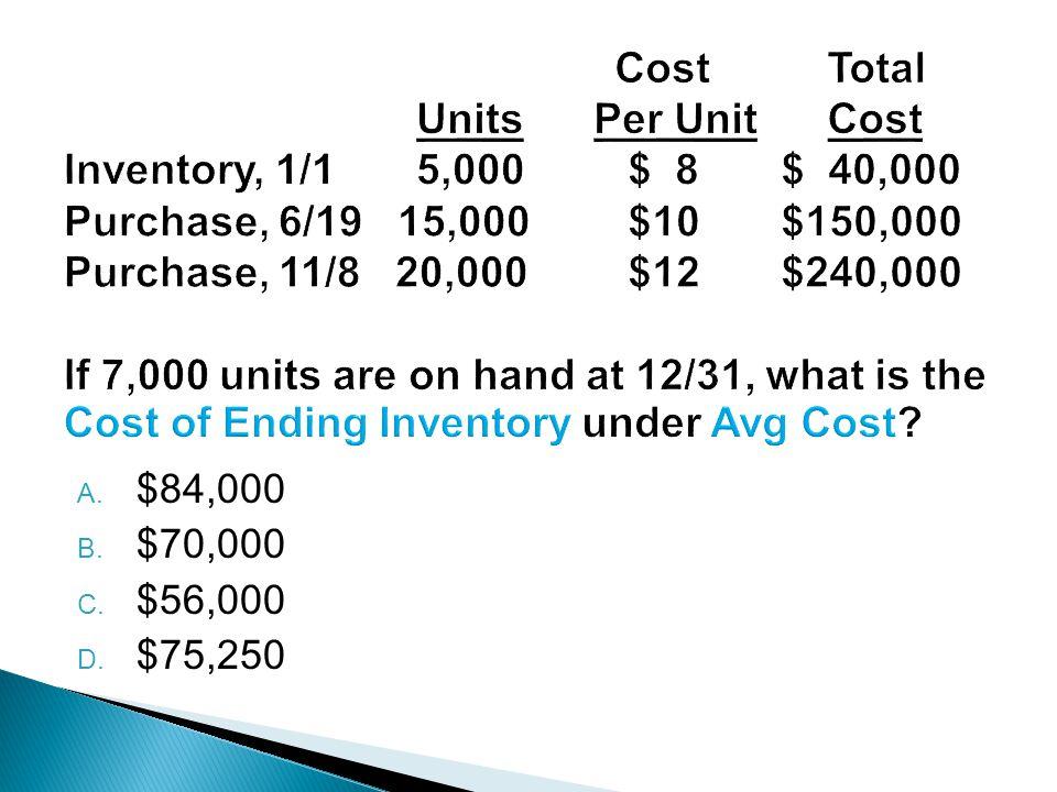 A. $84,000 B. $70,000 C. $56,000 D. $75,250