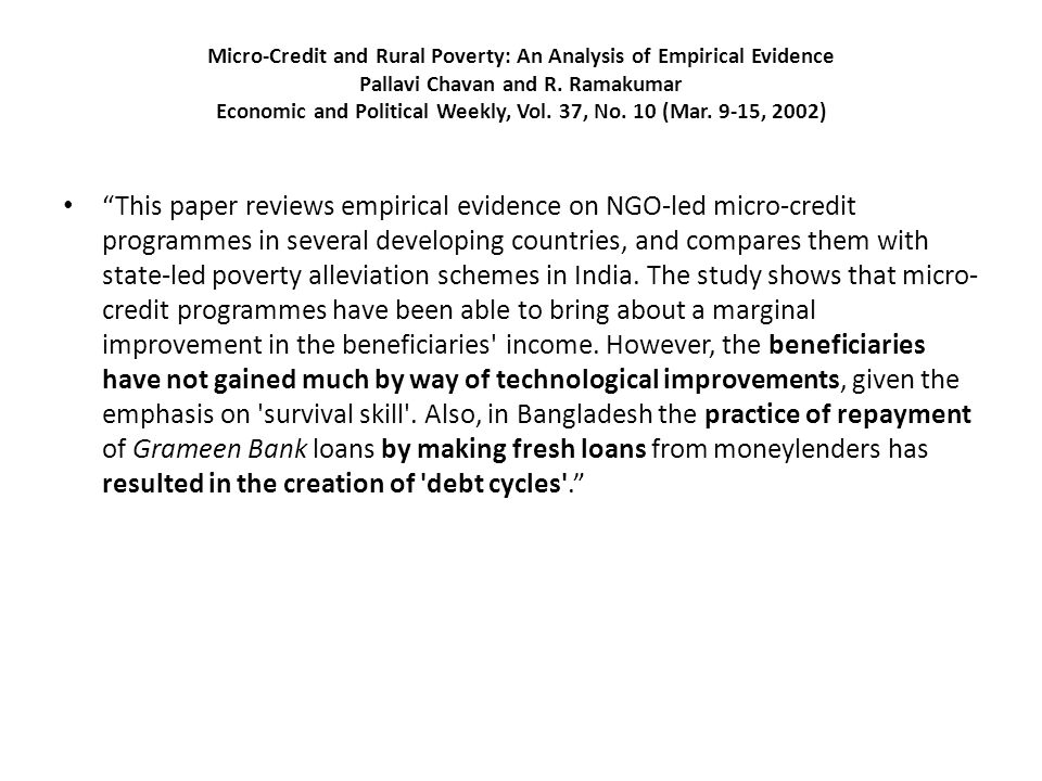 LIMITS OF MICRO CREDIT FOR RURAL DEVELOPMENT: A CURSORY LOOK B.