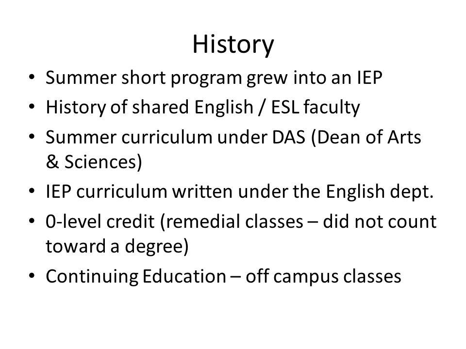 History Summer short program grew into an IEP History of shared English / ESL faculty Summer curriculum under DAS (Dean of Arts & Sciences) IEP curriculum written under the English dept.