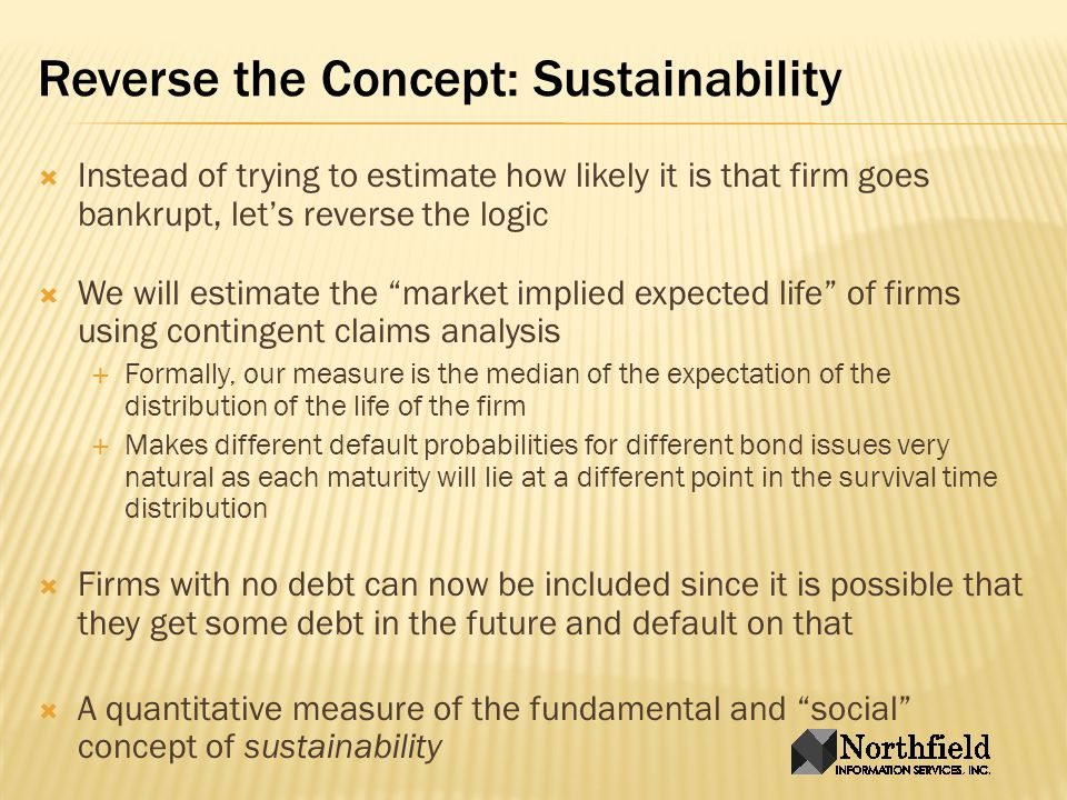 Our Basic Option Pricing Exercise Underlying is the firms assets with asset volatility determined from the equity factor model How volatile would a firms stock be if the firm had no debt.