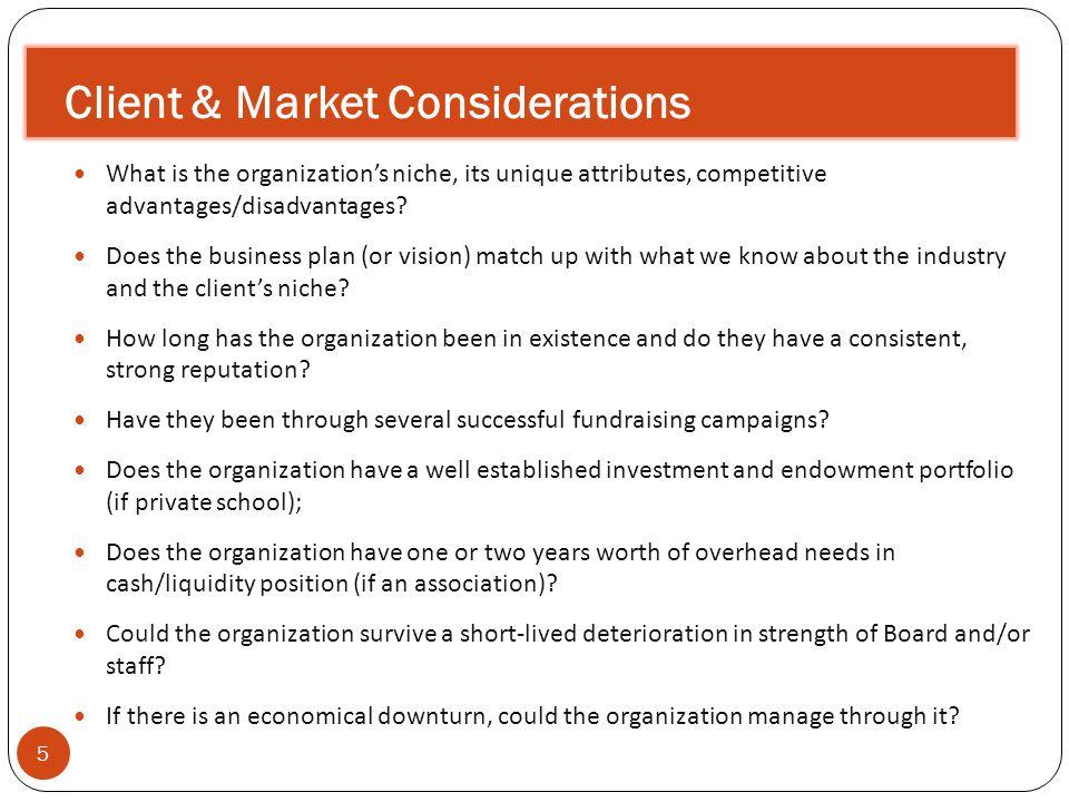 Client & Market Considerations 5 What is the organizations niche, its unique attributes, competitive advantages/disadvantages.