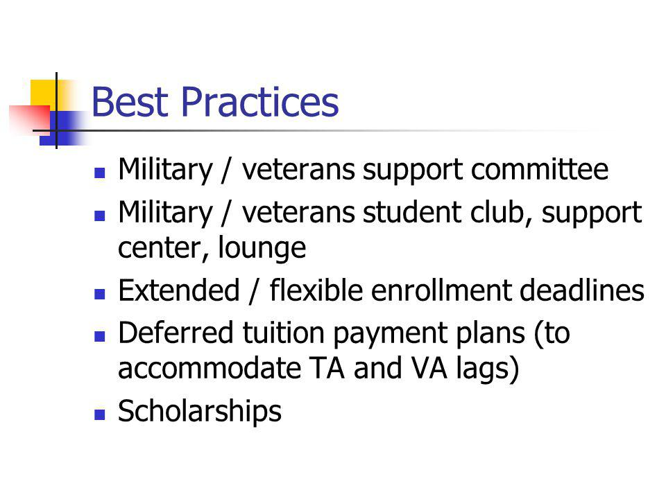 Best Practices Military / veterans support committee Military / veterans student club, support center, lounge Extended / flexible enrollment deadlines Deferred tuition payment plans (to accommodate TA and VA lags) Scholarships
