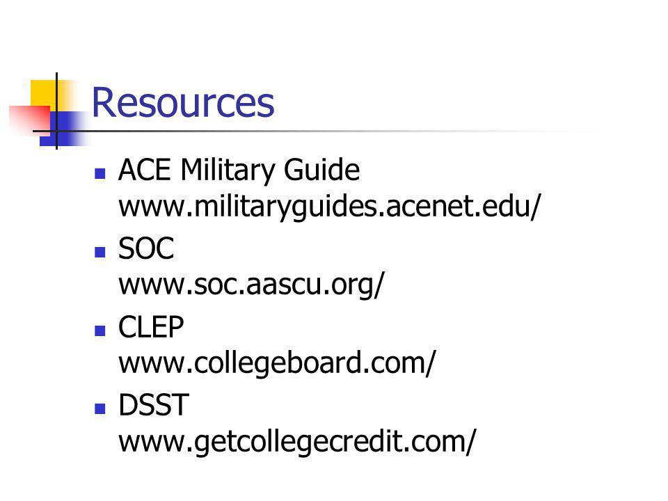 Resources ACE Military Guide www.militaryguides.acenet.edu/ SOC www.soc.aascu.org/ CLEP www.collegeboard.com/ DSST www.getcollegecredit.com/