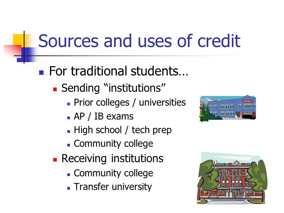 Sources and uses of credit For traditional students… Sending institutions Prior colleges / universities AP / IB exams High school / tech prep Community college Receiving institutions Community college Transfer university