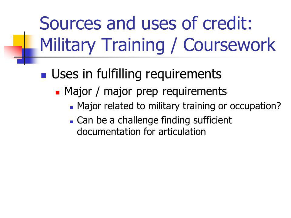 Sources and uses of credit: Military Training / Coursework Uses in fulfilling requirements Major / major prep requirements Major related to military training or occupation.