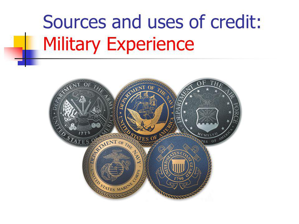 Sources and uses of credit: Military Experience