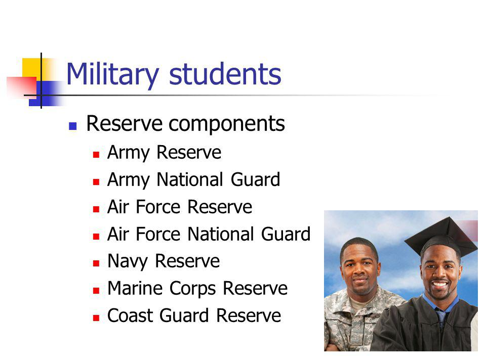 Military students Who are the military.Active duty (1 in 200 U.S.
