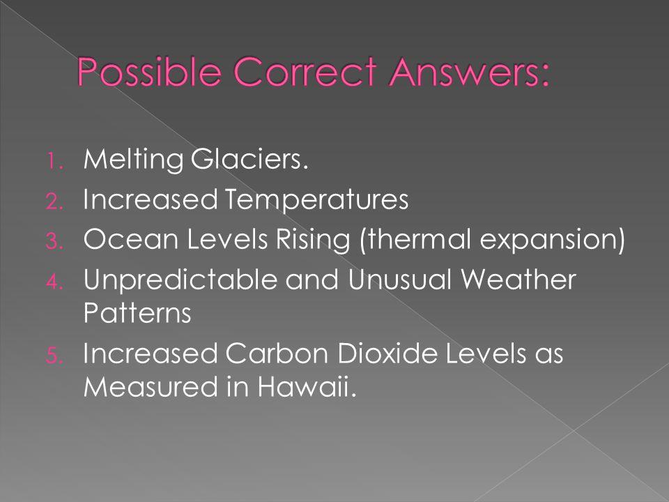 1. Melting Glaciers. 2. Increased Temperatures 3.