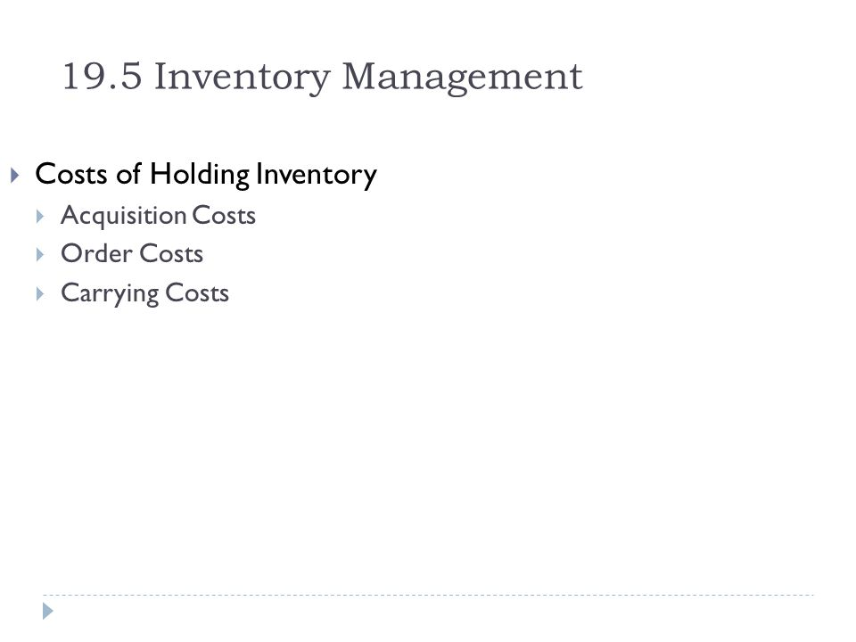 19.5 Inventory Management Costs of Holding Inventory Acquisition Costs Order Costs Carrying Costs