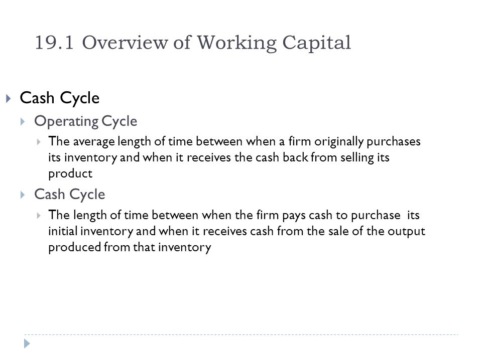 Example 19.7a Cost of Trade Credit with Stretched Accounts Payable Execute: The interest rate per period is $2/$98 = 2.04%.