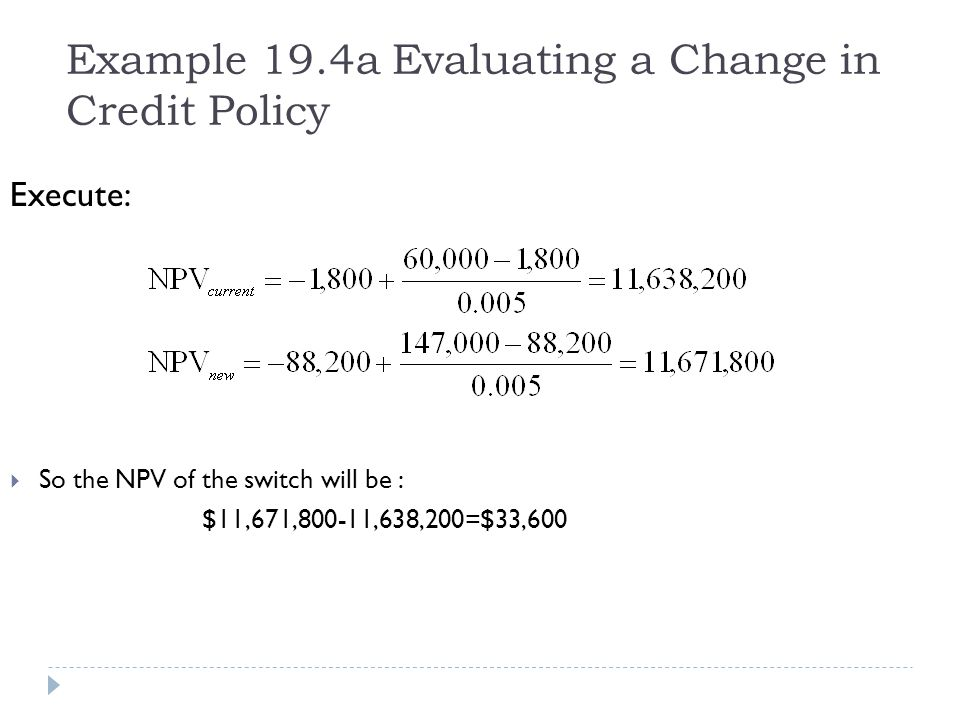 Example 19.4a Evaluating a Change in Credit Policy Execute: So the NPV of the switch will be : $11,671,800-11,638,200=$33,600