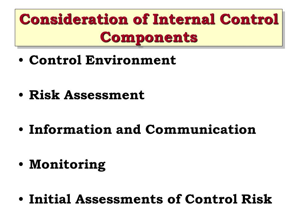 Consideration of Internal Control Components Control Environment Risk Assessment Information and Communication Monitoring Initial Assessments of Contr