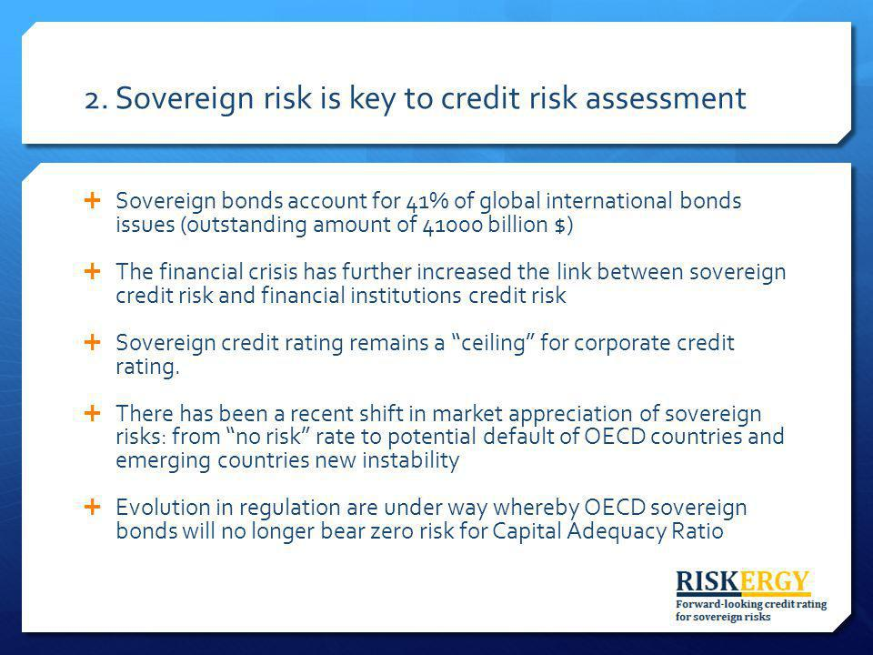 2. Sovereign risk is key to credit risk assessment Sovereign bonds account for 41% of global international bonds issues (outstanding amount of 41000 b