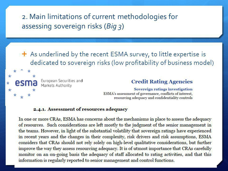 2. Main limitations of current methodologies for assessing sovereign risks (Big 3) As underlined by the recent ESMA survey, to little expertise is ded