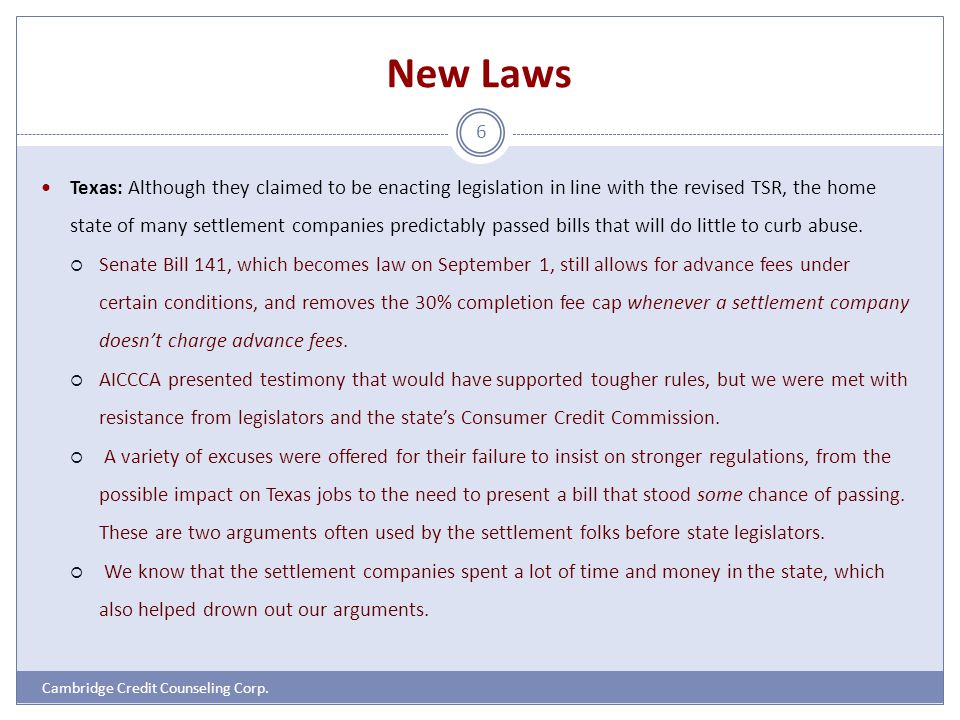 New Laws Cambridge Credit Counseling Corp.