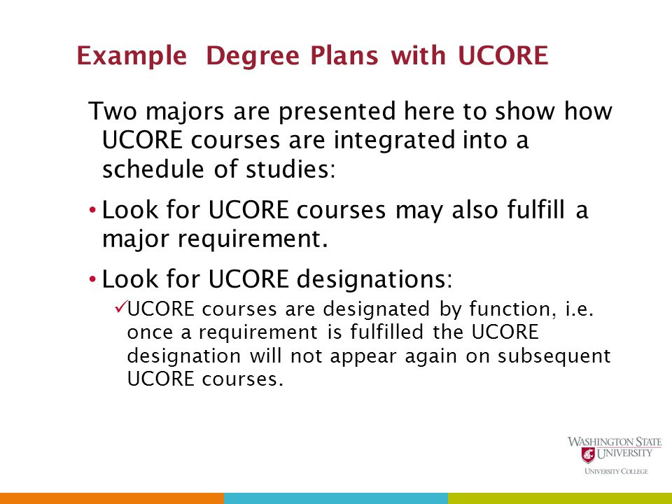 Example Degree Plans with UCORE Two majors are presented here to show how UCORE courses are integrated into a schedule of studies: Look for UCORE courses may also fulfill a major requirement.