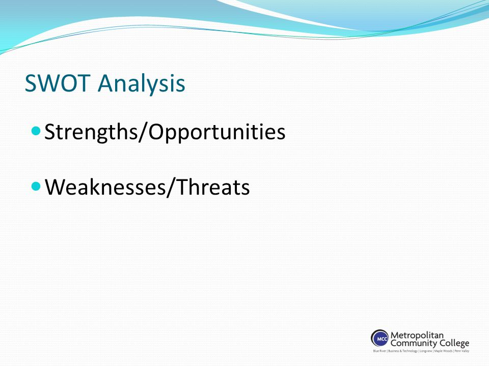 SWOT Analysis Strengths/Opportunities Weaknesses/Threats