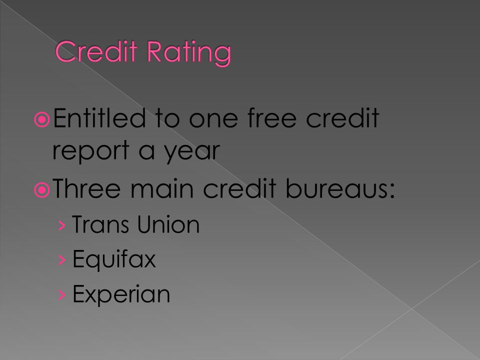 Entitled to one free credit report a year Three main credit bureaus: Trans Union Equifax Experian