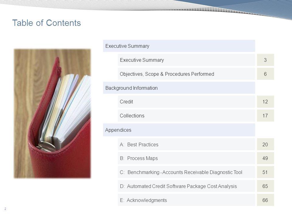 63 Appendix C: Benchmarking - Accounts Receivable Diagnostic Tool