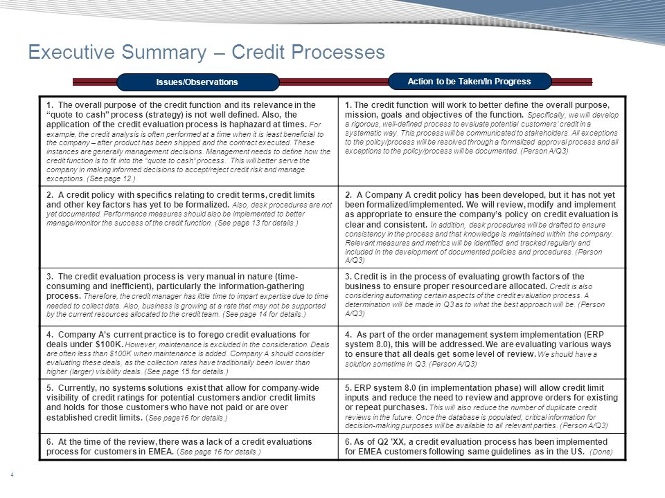 25 Appendix A: Best Practices Scorecard Best PracticeCompany A Practice Reference Rating 5.Discuss and document credit terms with customers at the beginning of the business relationship.