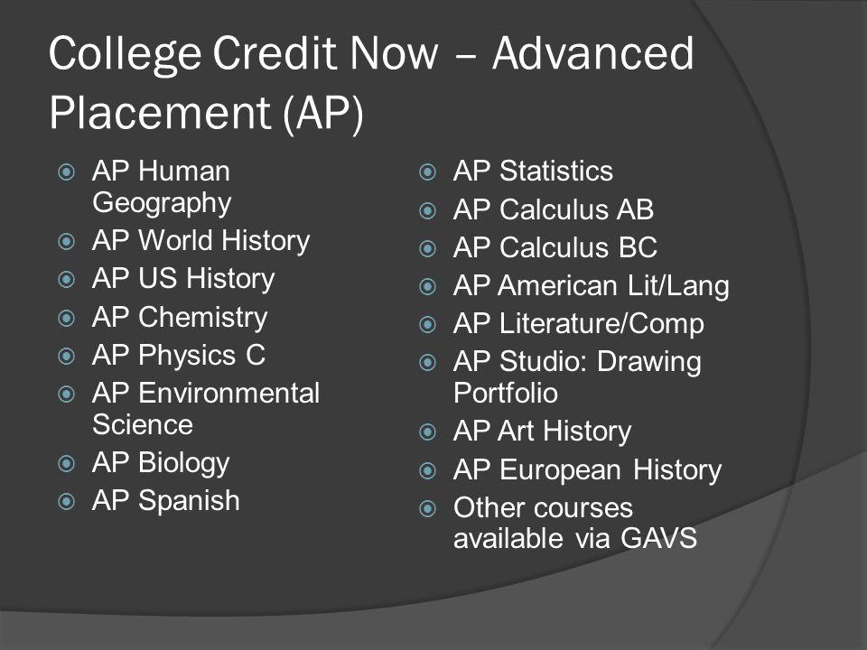 College Credit Now – Advanced Placement (AP) AP Human Geography AP World History AP US History AP Chemistry AP Physics C AP Environmental Science AP B