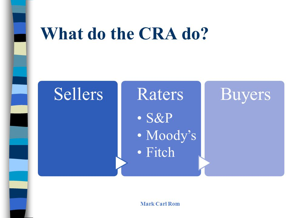 What do the CRA do? Mark Carl Rom