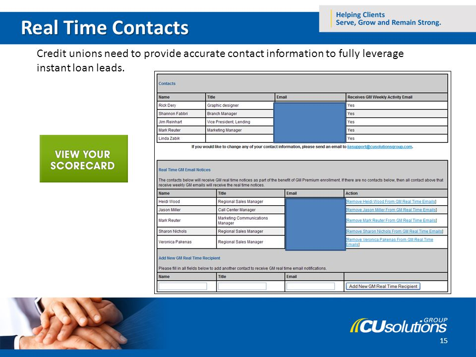 Real Time Contacts Credit unions need to provide accurate contact information to fully leverage instant loan leads.