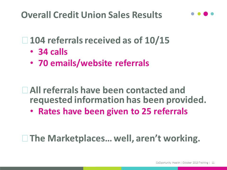 104 referrals received as of 10/15 34 calls 70 emails/website referrals All referrals have been contacted and requested information has been provided.