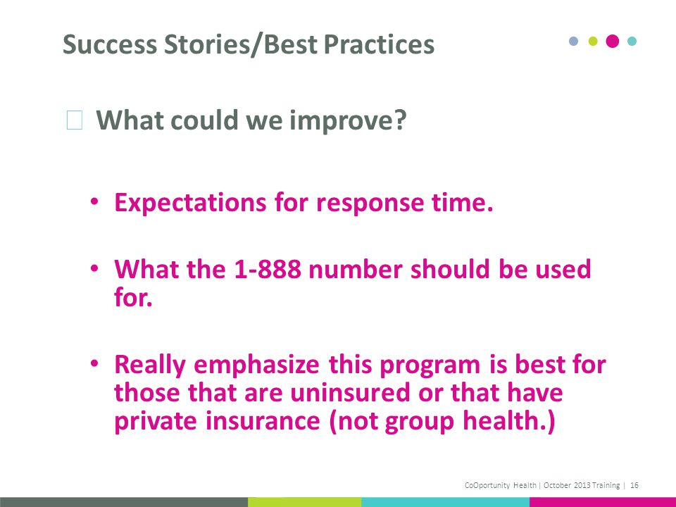 What could we improve. Expectations for response time.